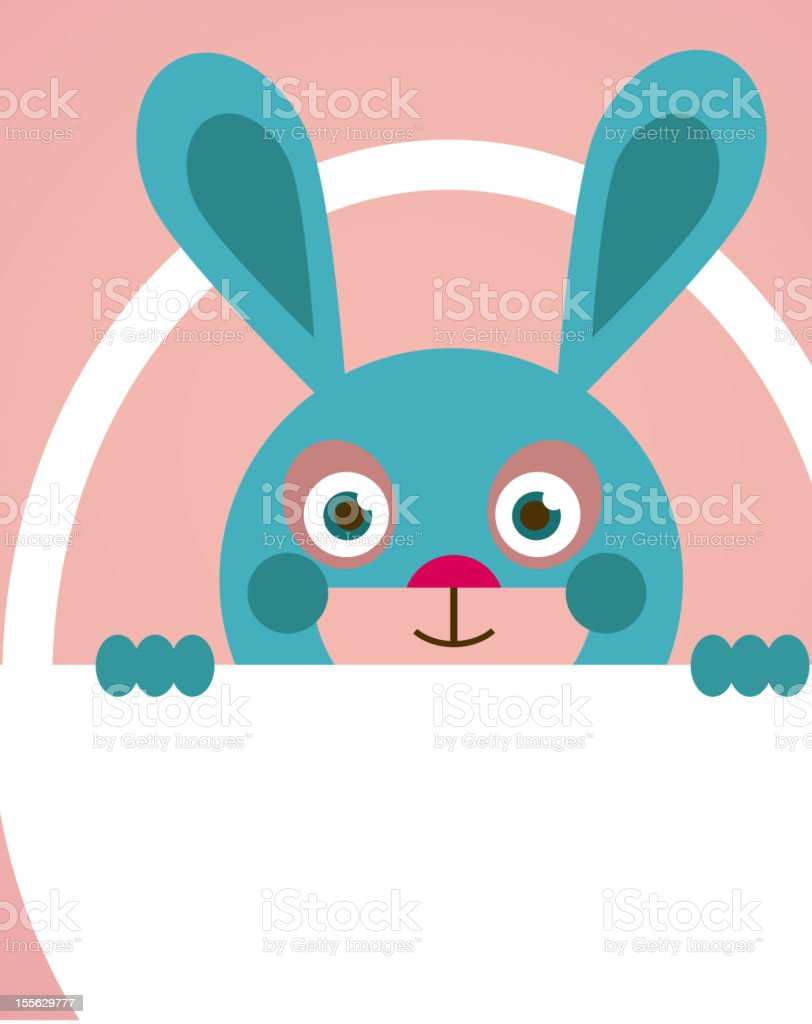 Easter card - a basket with bunny royalty-free stock vector art