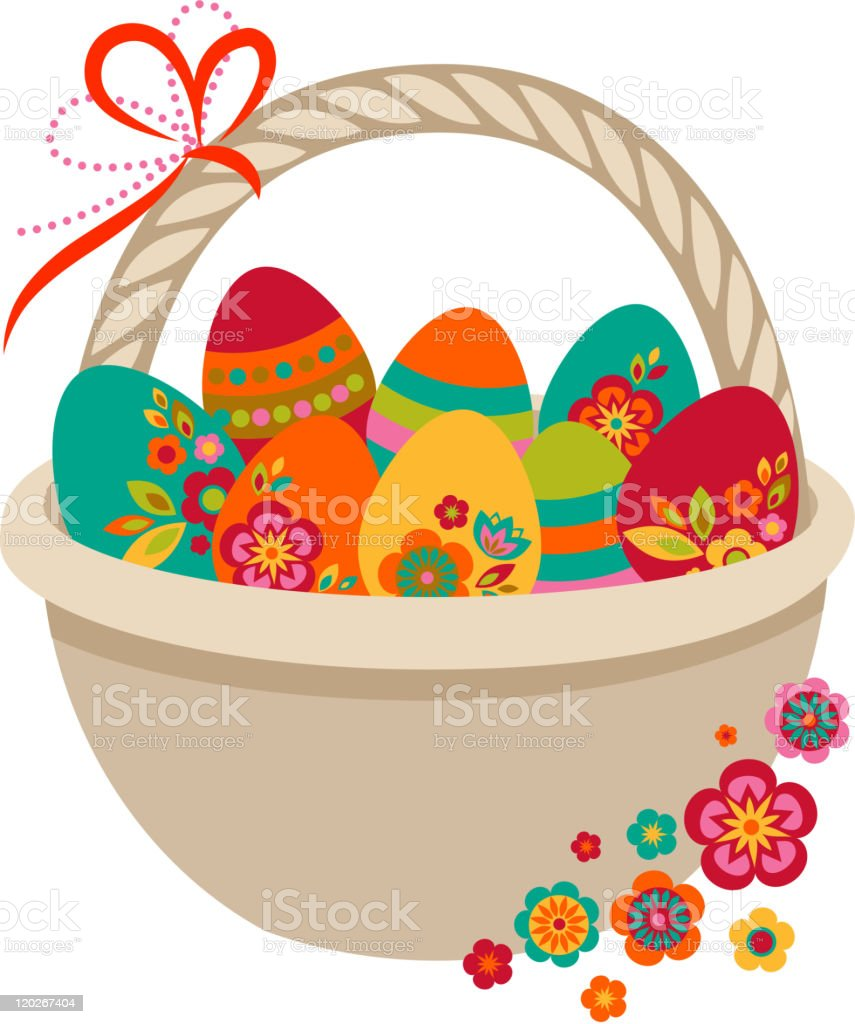 Easter card - a basket with colored eggs royalty-free stock vector art