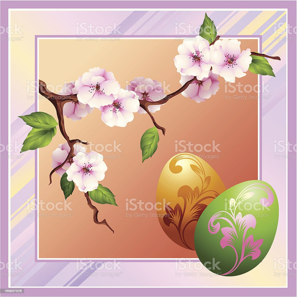 Easter card is in lilac tones royalty-free stock vector art