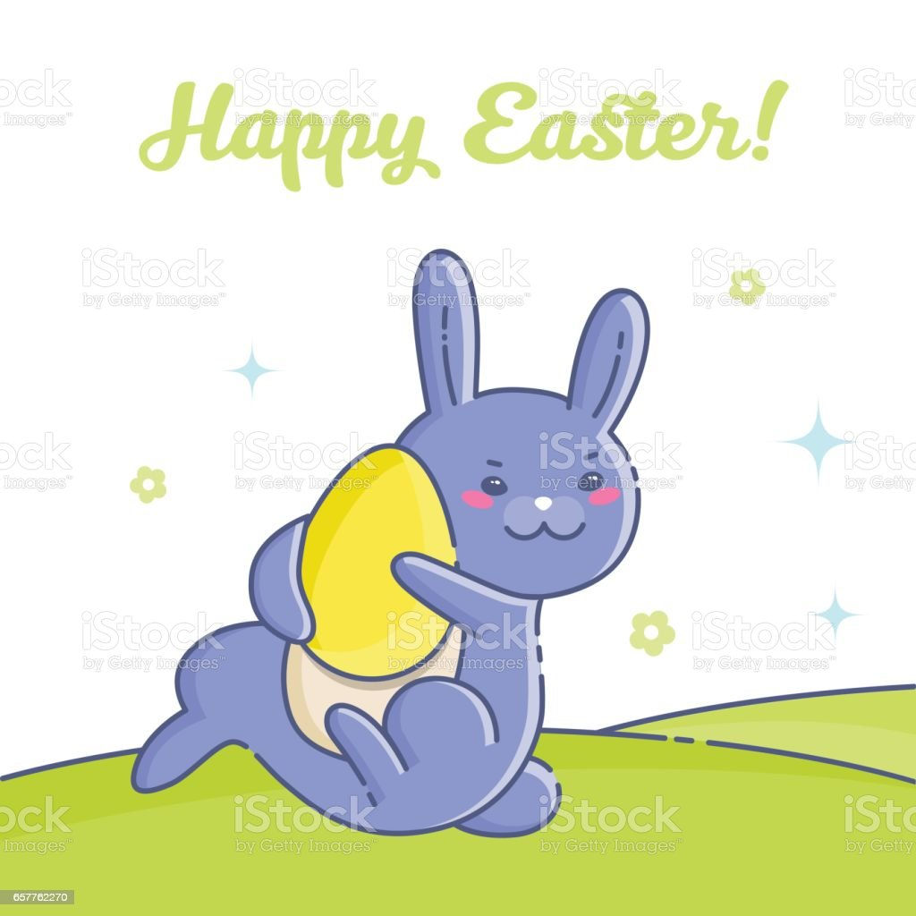 Easter card with blue rabbit and eggs vector art illustration