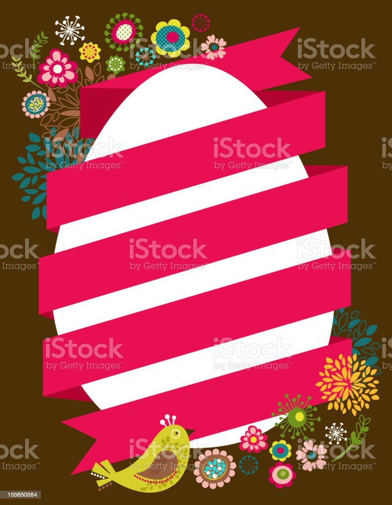Easter card with egg and ribbon royalty-free stock vector art