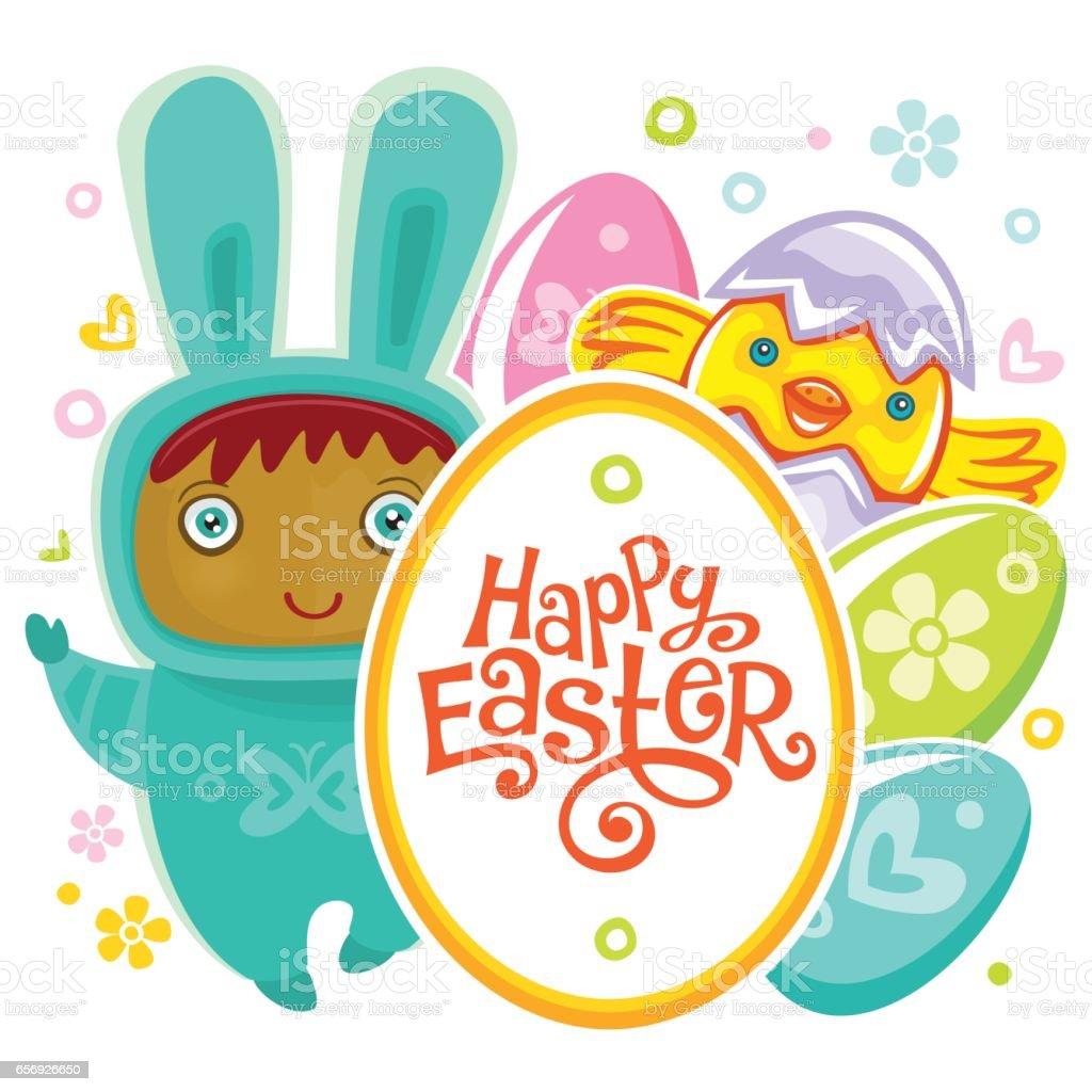 Easter Card with egg hunting rabbit child vector art illustration