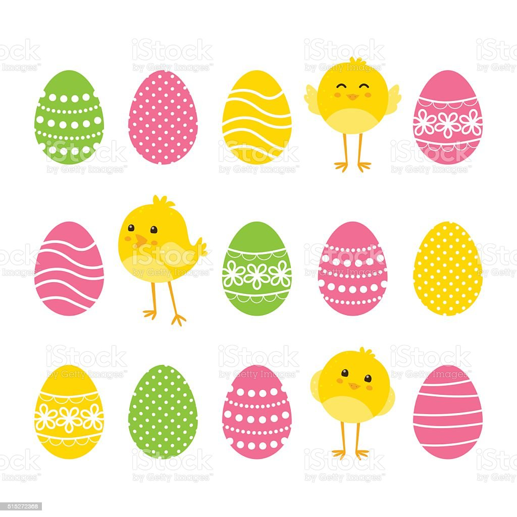 Easter card with eggs and chickens vector art illustration