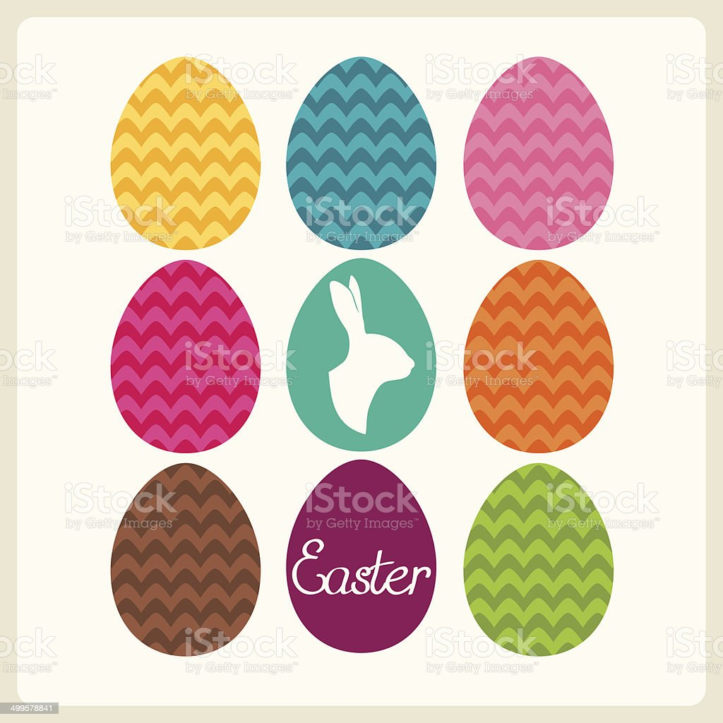 Easter card with eggs and easter bunny. Vector illustration. royalty-free stock vector art