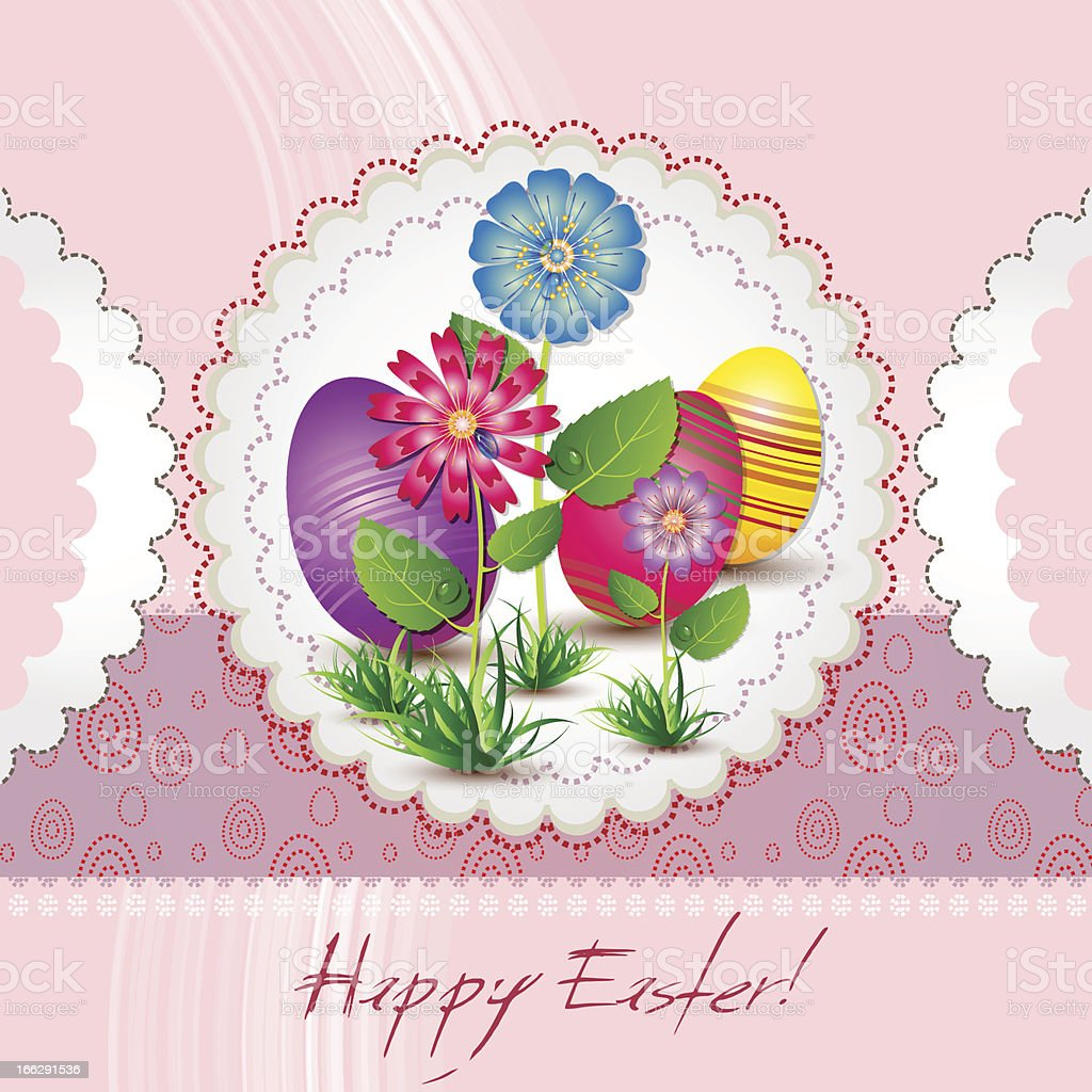 Easter card with flowwers and eggs royalty-free stock vector art