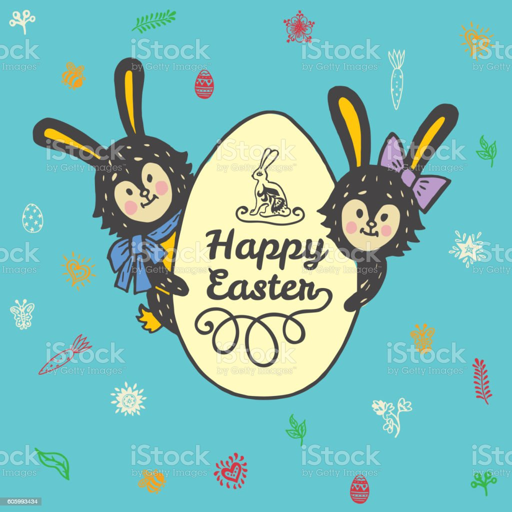 Easter card with rabbits and egg vector art illustration