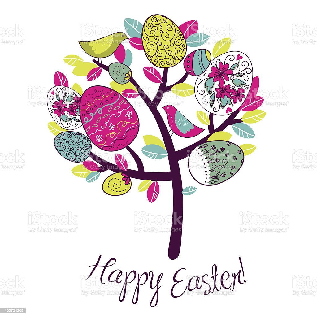 Easter Card with tree, eggs and birds royalty-free stock vector art