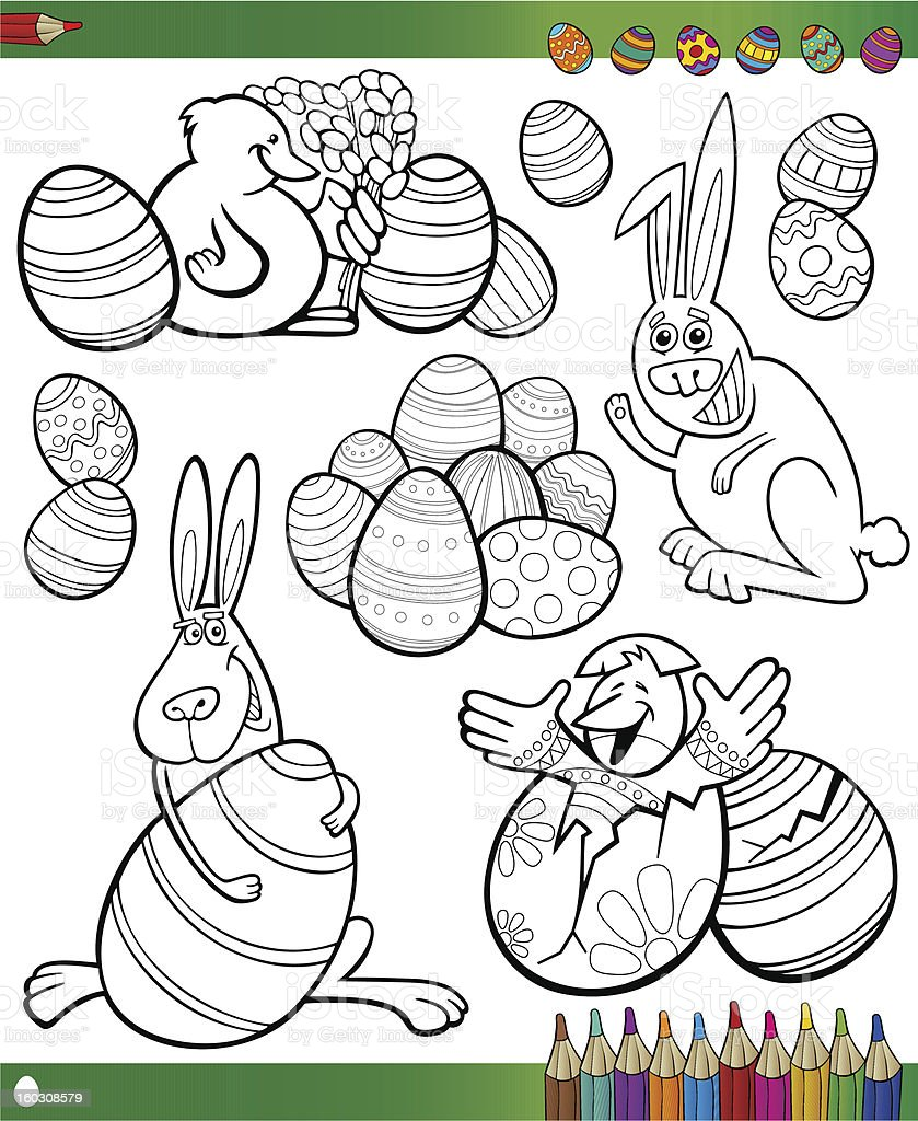 easter cartoon themes for coloring royalty-free stock vector art