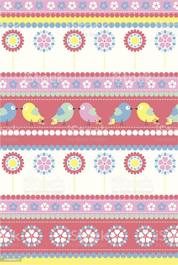 Easter Chick & Daisy Stripe Pattern in Repeat royalty-free stock vector art