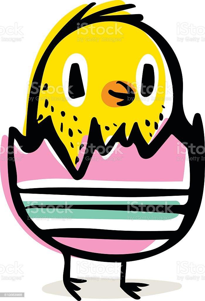 Easter Chick Doodle vector art illustration