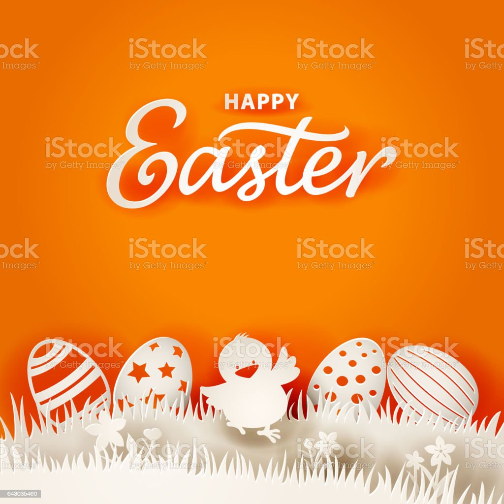 Easter Chick & Eggs Paper Art vector art illustration