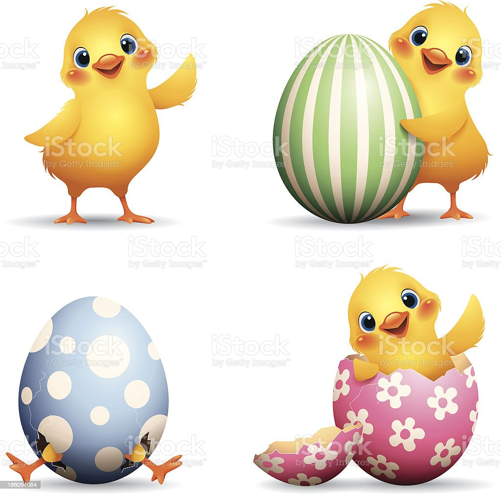 Easter Chick set vector art illustration