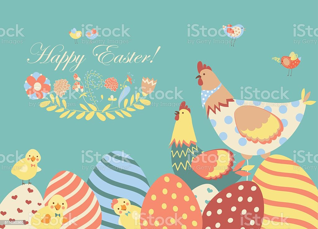 Easter chicken with easter eggs vector art illustration