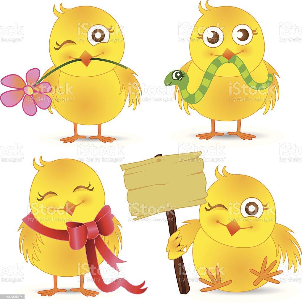 Easter Chicks Set royalty-free stock vector art
