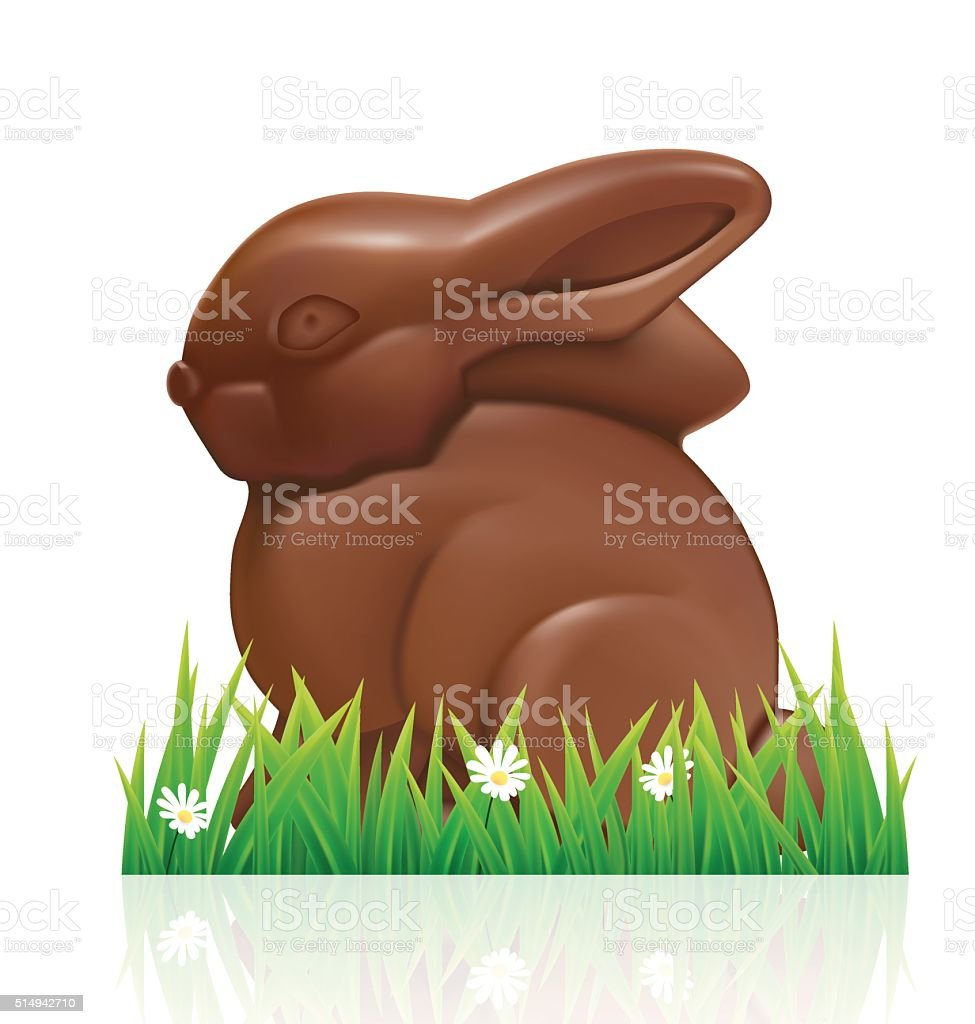 Easter chocolate bunny on white background. vector art illustration