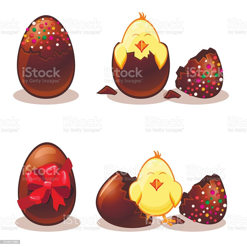 Easter chocolate eggs and chik vector art illustration