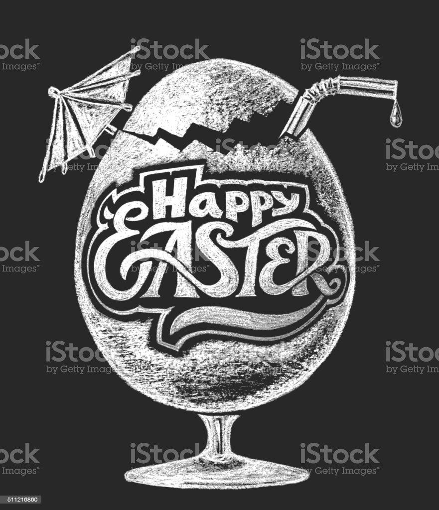 Easter cocktail. Chalk drawing vector art illustration