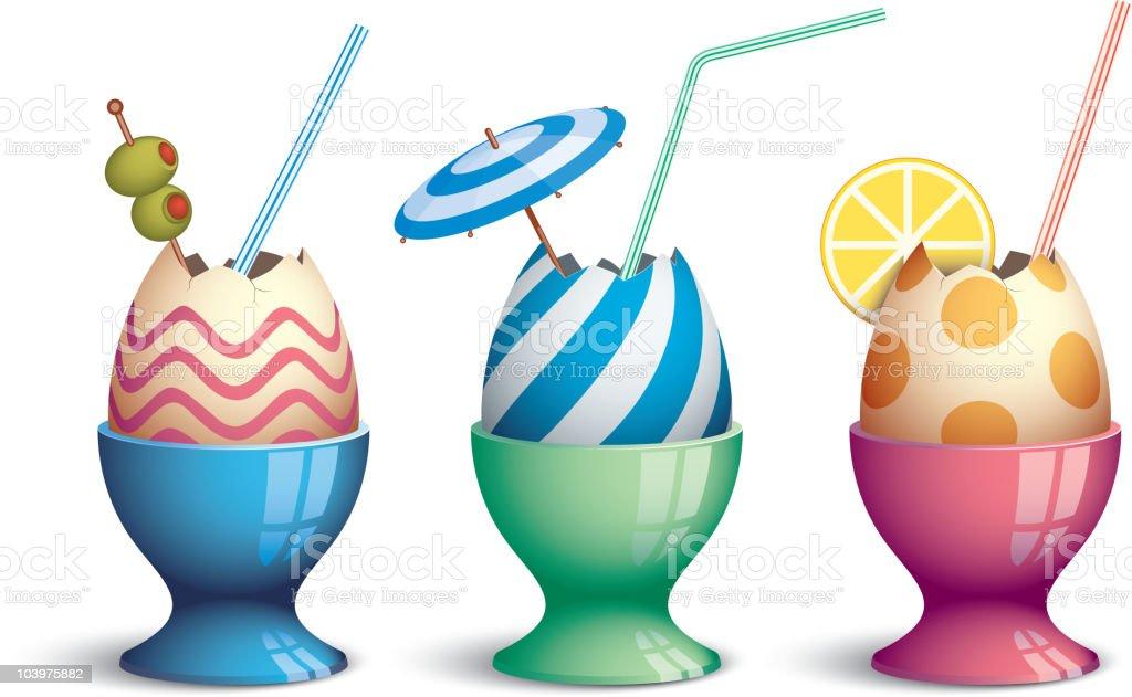 Easter cocktails vector art illustration