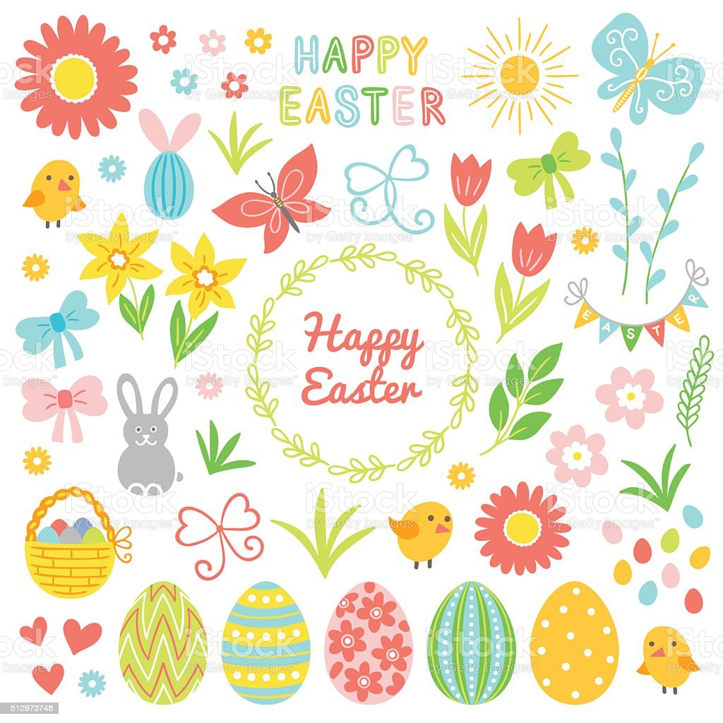 Easter collection. Flower, chicken, chamomile, bunny, bow, hearts, bucket, butterfly vector art illustration