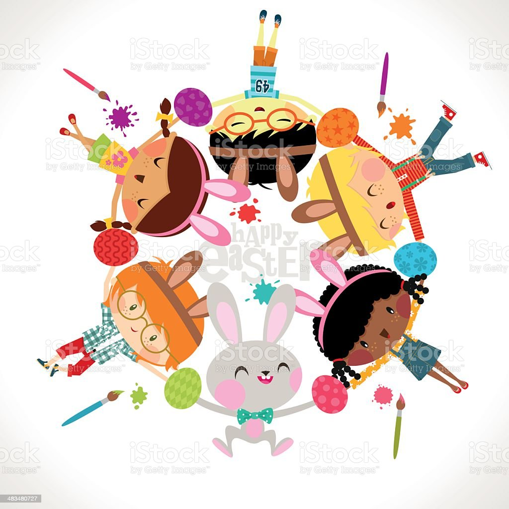 Easter crafts and kids cute party illustration vector royalty-free stock vector art