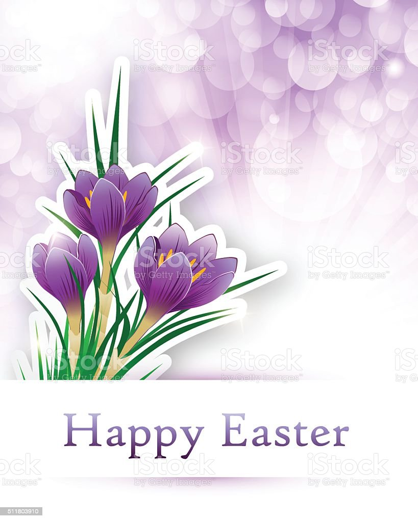 Easter Crocus vector art illustration