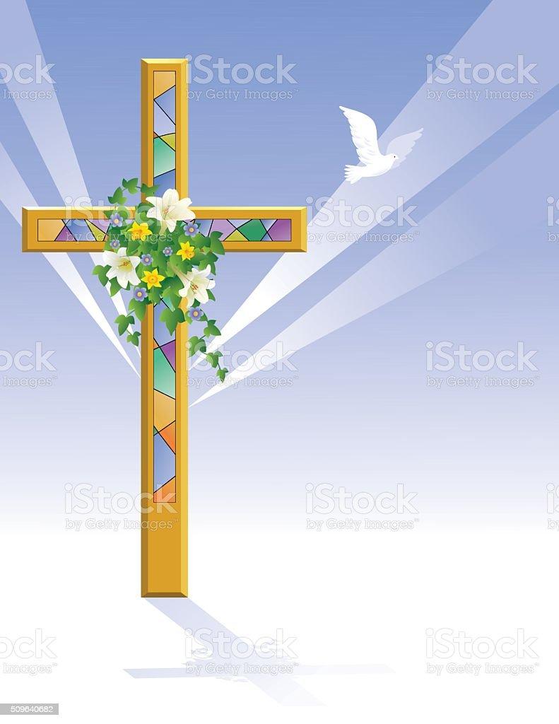 Easter Cross vector art illustration
