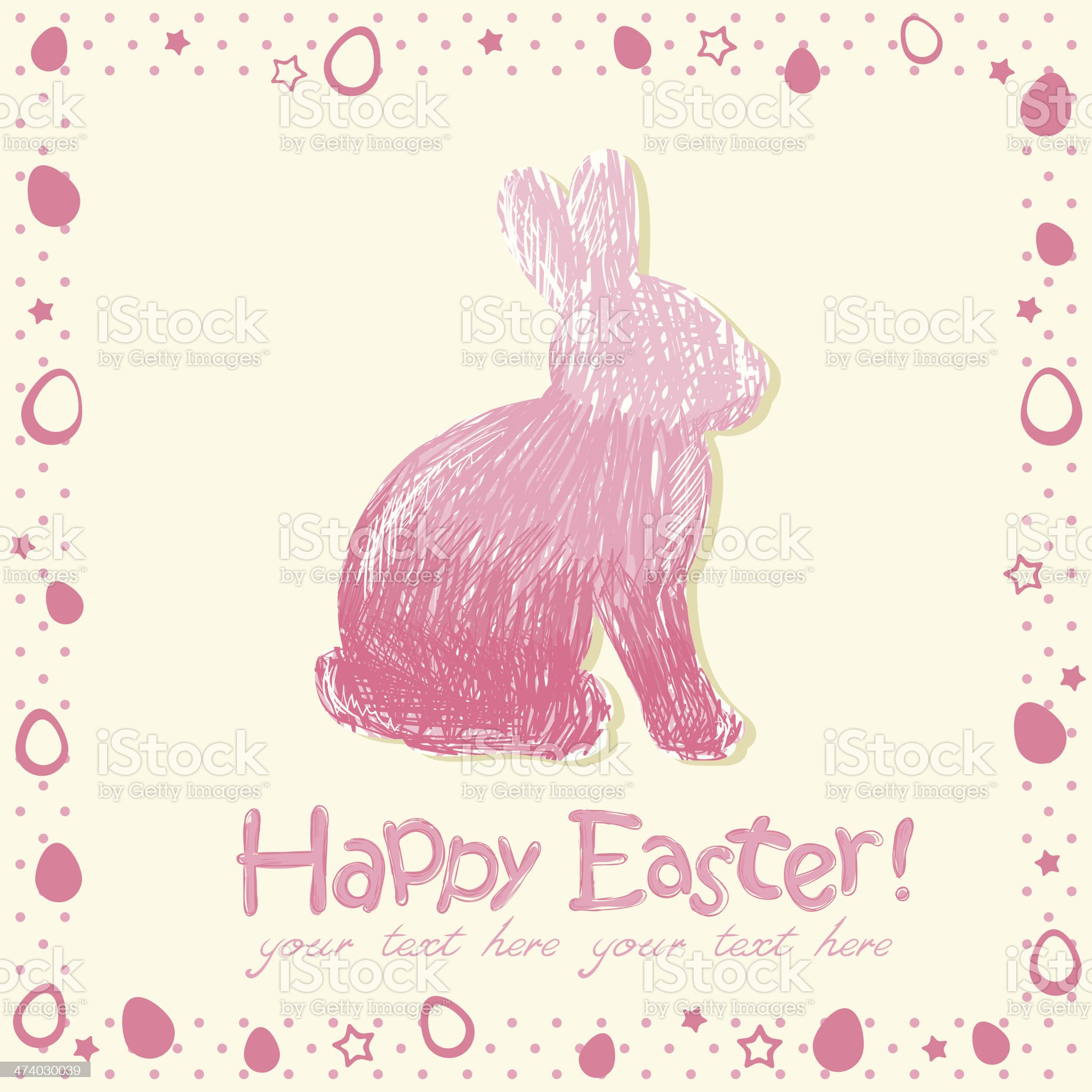 Easter cute scribble bunny silhouette hand drawn royalty-free stock vector art