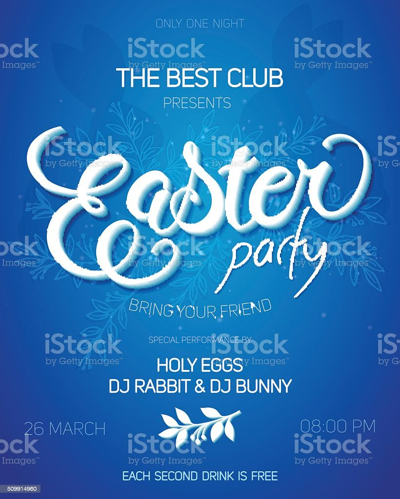 easter day party invitation poster with hand drawn lettering vector art illustration