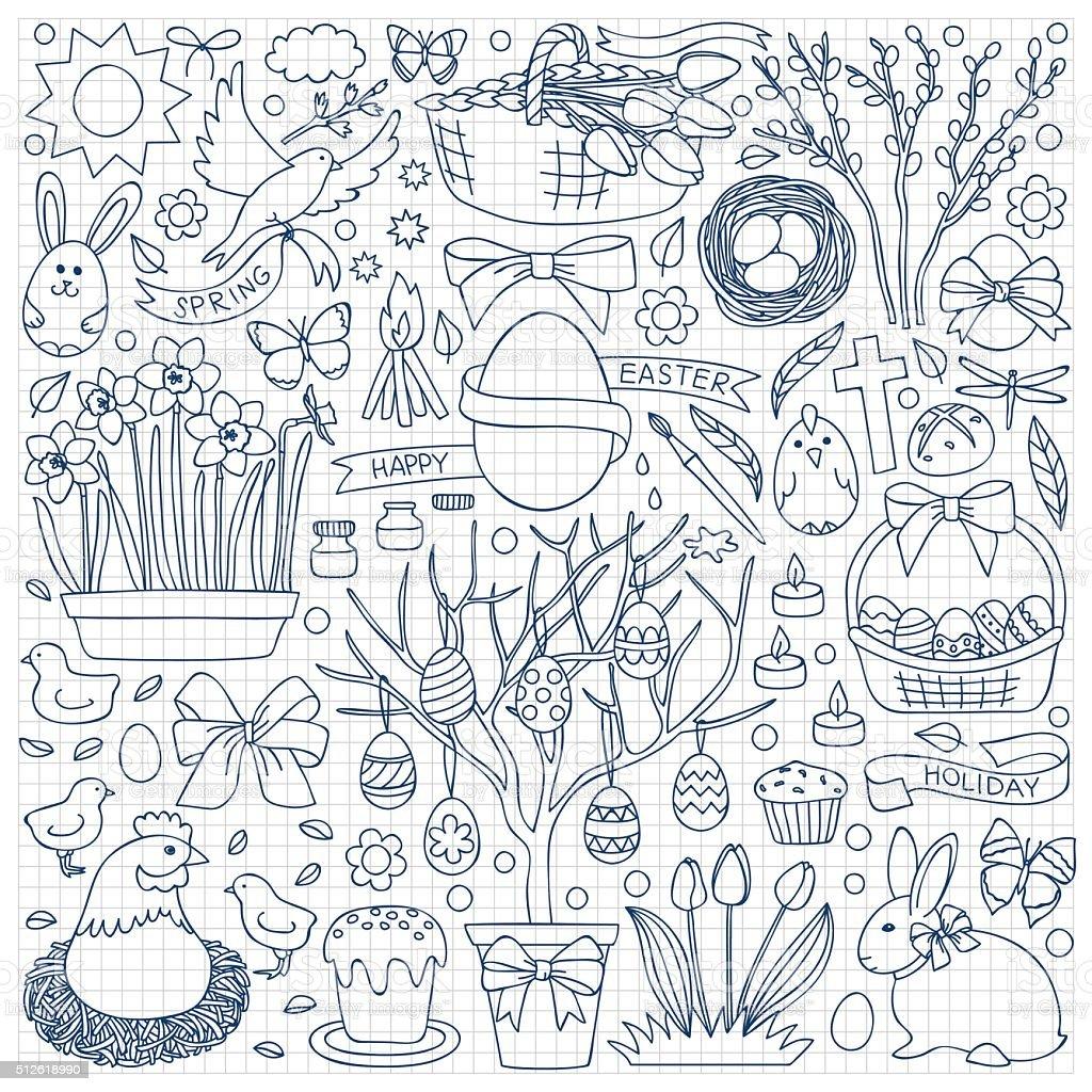 Easter doodle set vector art illustration