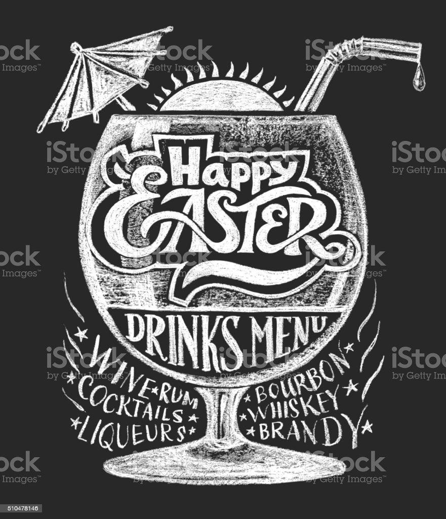 Easter drinks menu. Chalk drawing vector art illustration