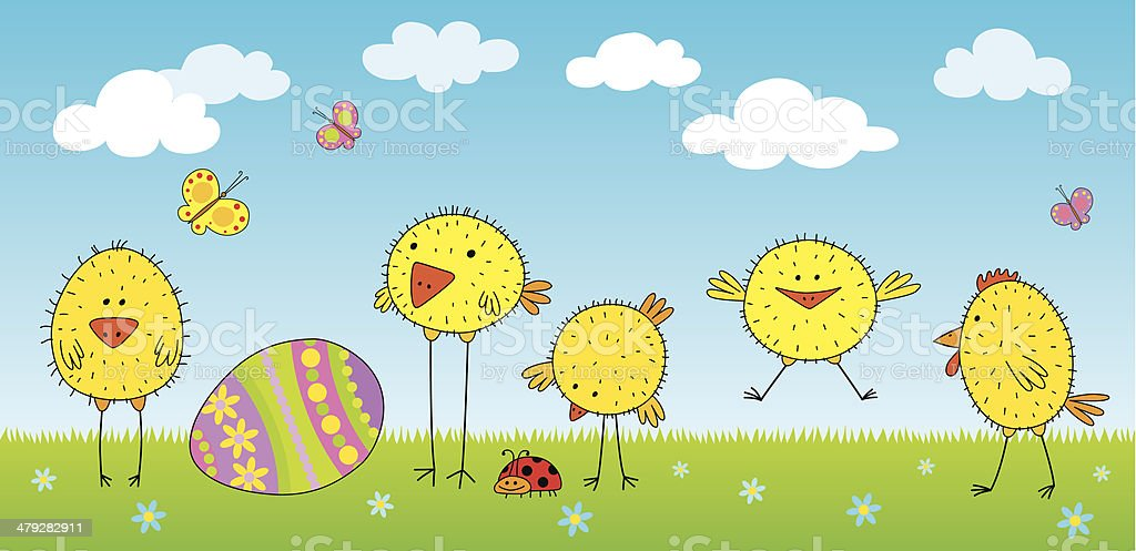 Easter egg and chickens vector art illustration