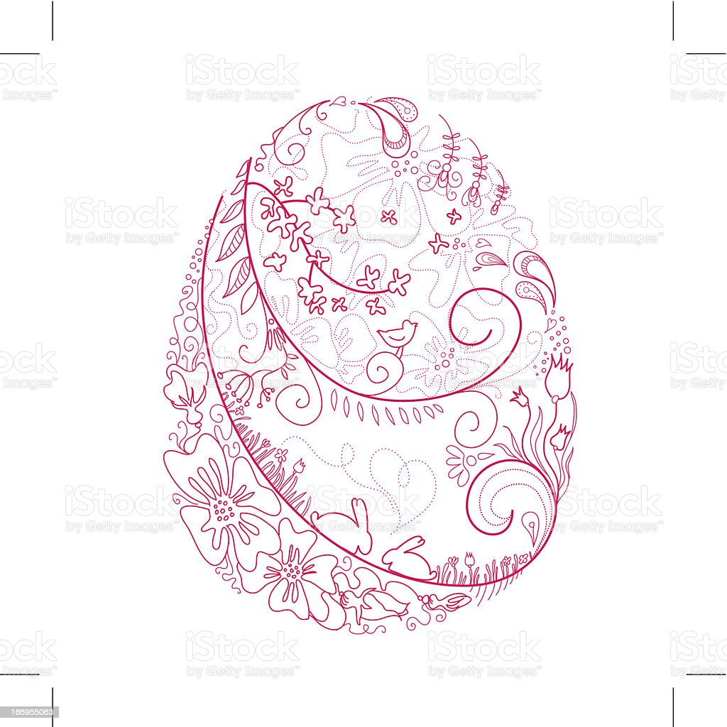 easter egg doodles royalty-free stock vector art