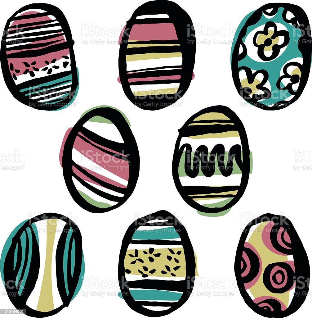 Easter Egg Doodles vector art illustration
