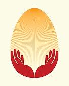 Easter egg, hand,sun