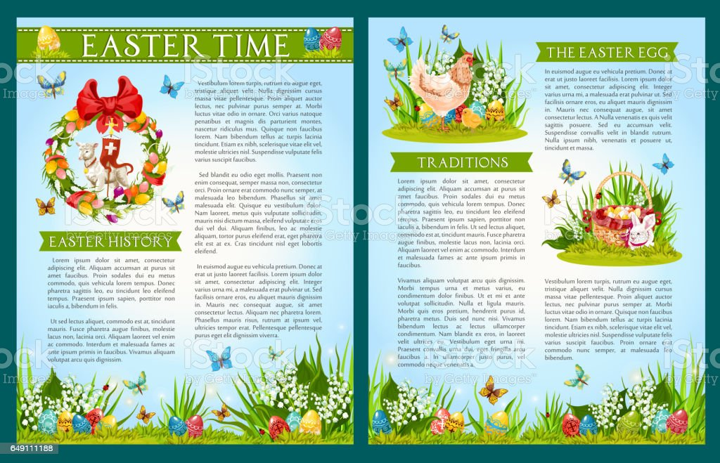 Easter Egg Hunt Celebration Brochure Template Stock Vector Art