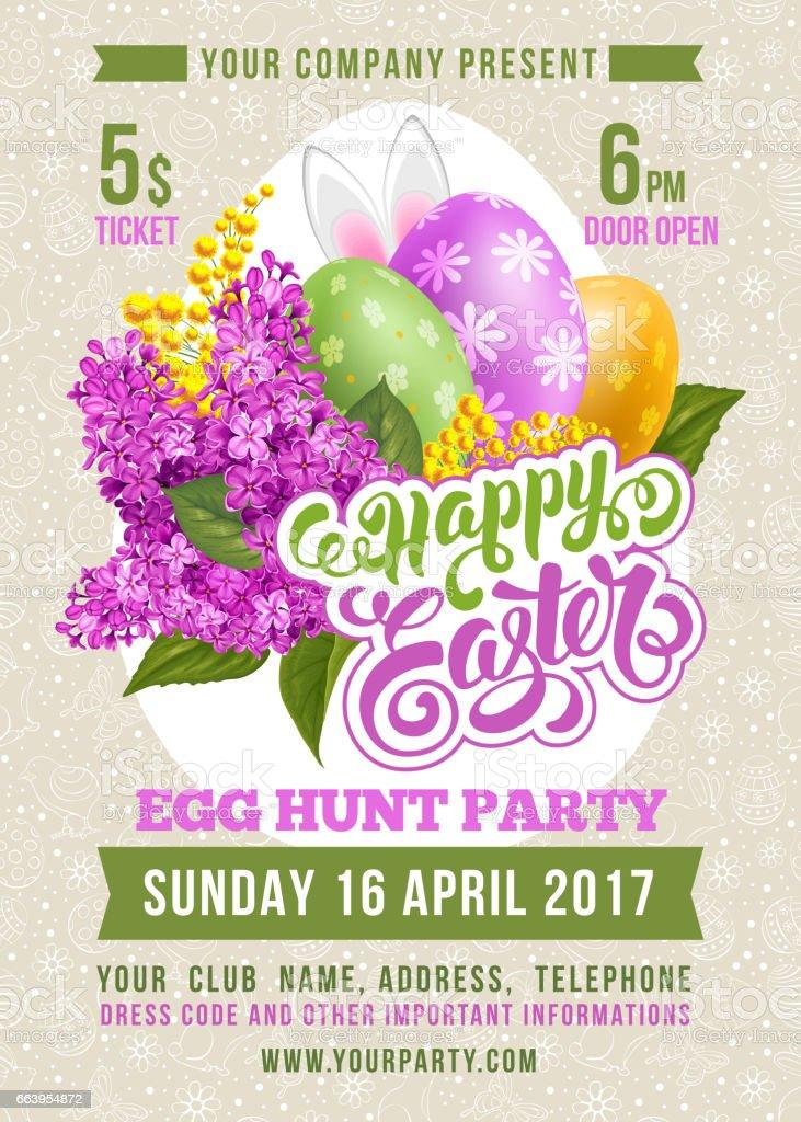 Easter Egg Hunt Flyer Template vector art illustration