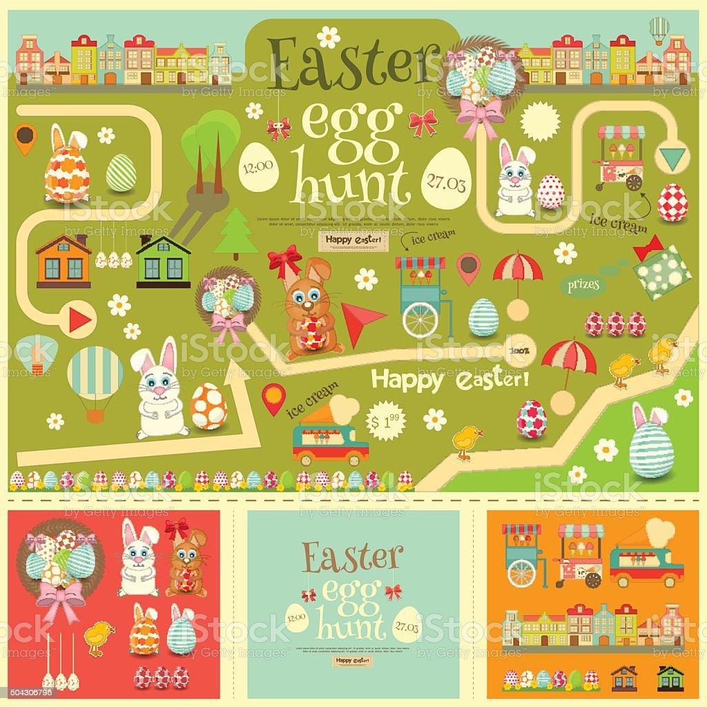 easter egg hunt vector art illustration