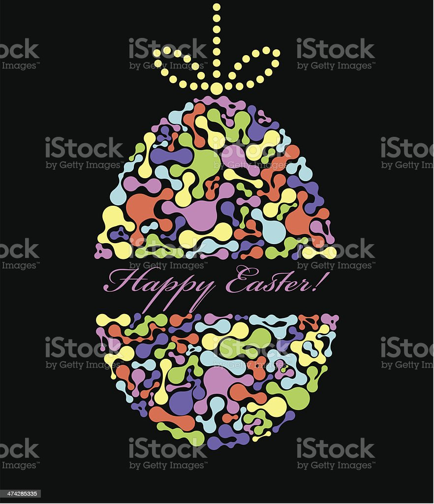 easter egg on black background royalty-free stock vector art