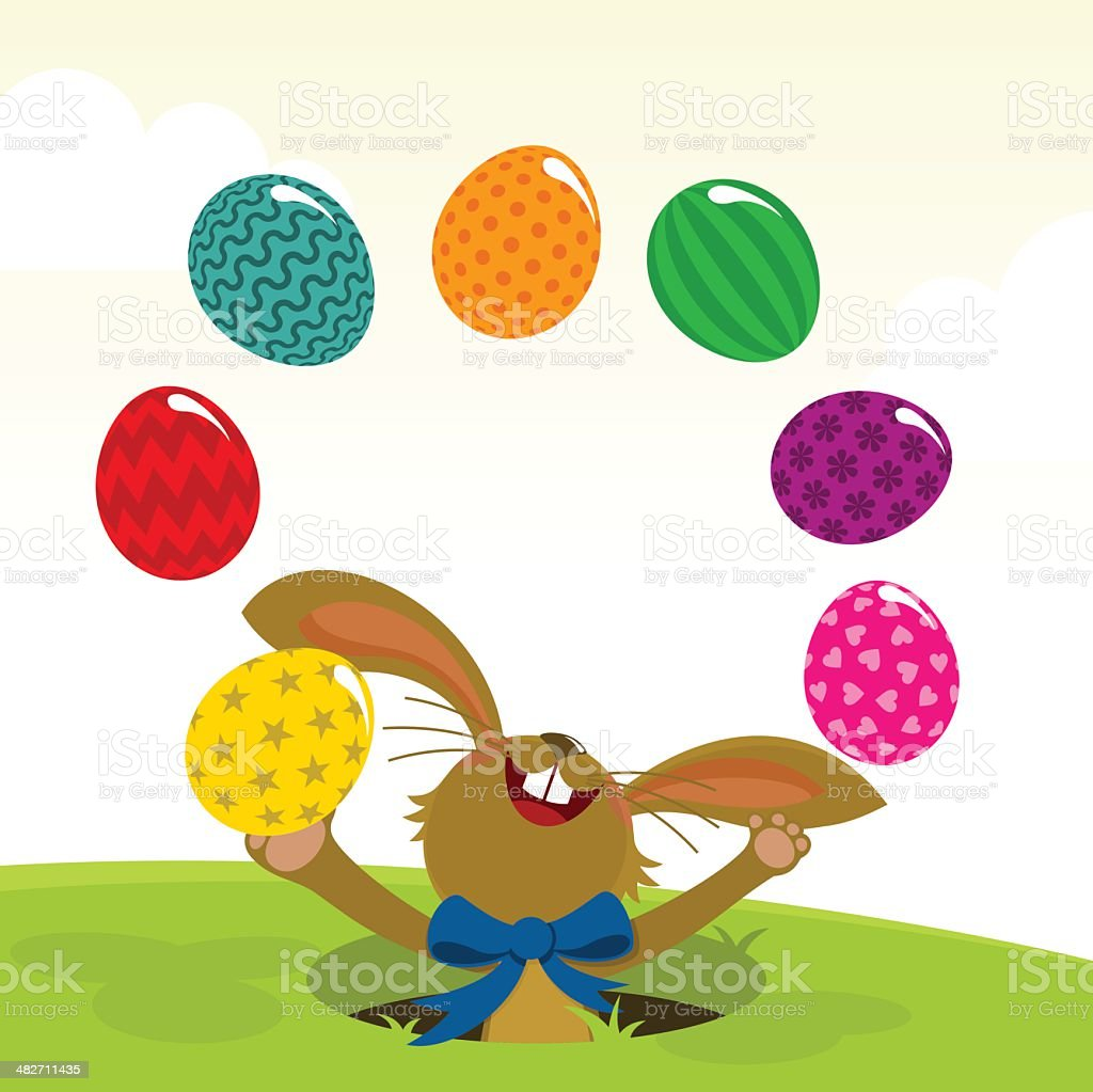 Easter egg painted and bunny vector art illustration