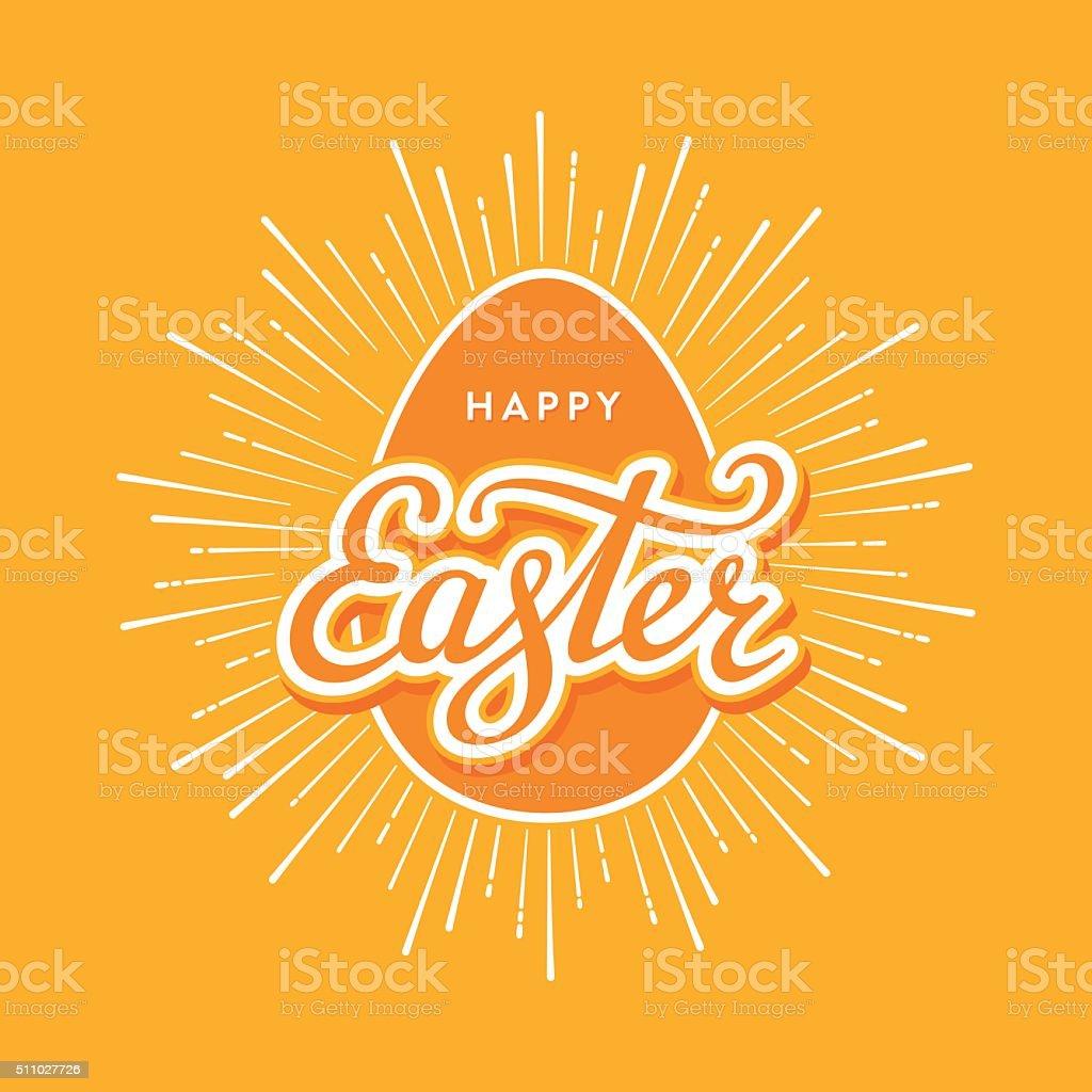 Easter egg starburst orange vector art illustration