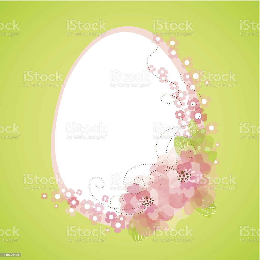Easter egg with floral elements royalty-free stock vector art