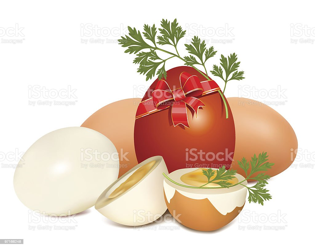 Easter egg with red ribbon and parsley. royalty-free stock vector art