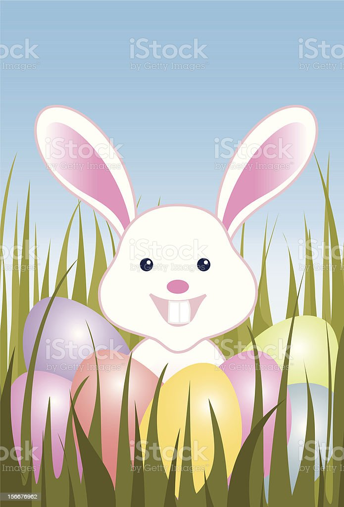Easter eggs and bunny in grass royalty-free stock vector art