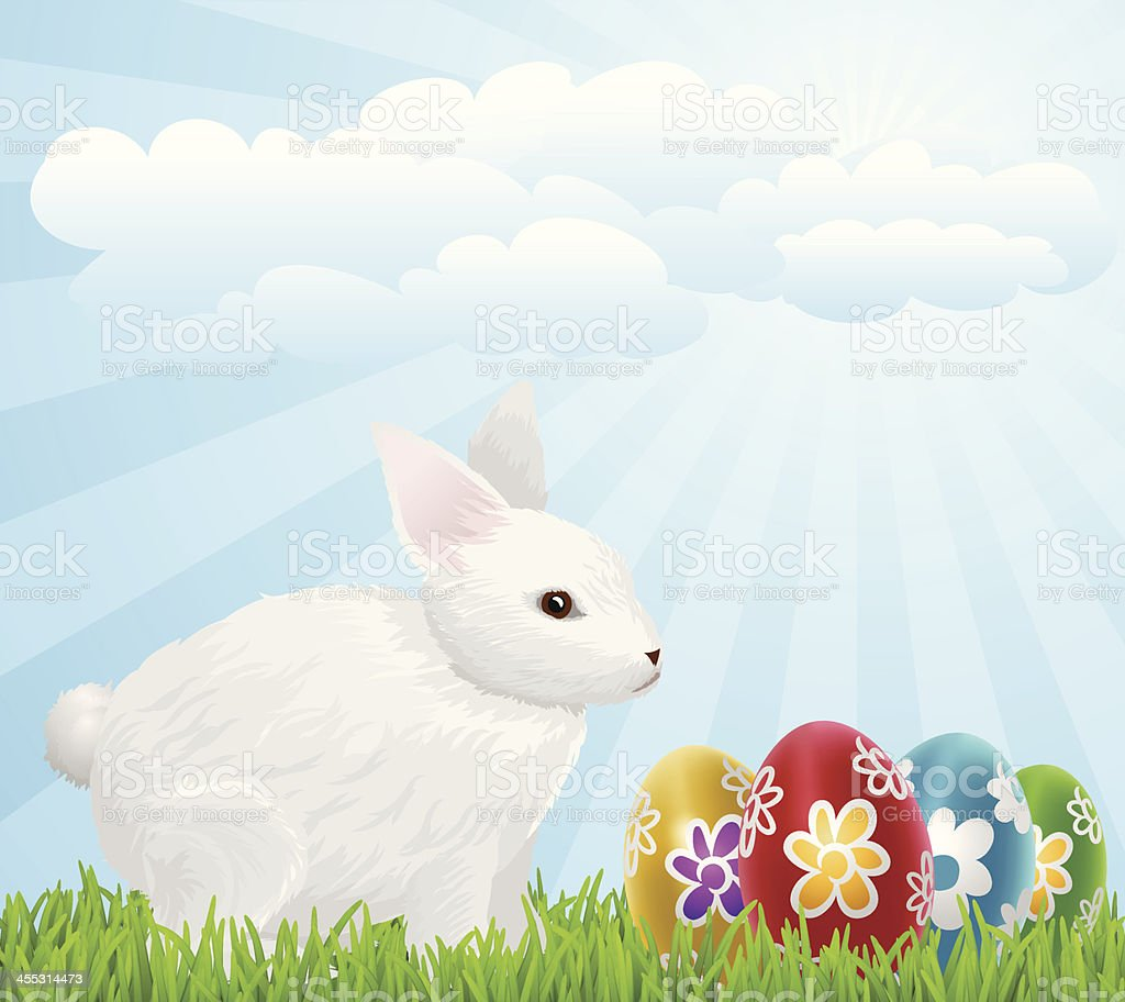 Easter Eggs And Bunny royalty-free stock vector art