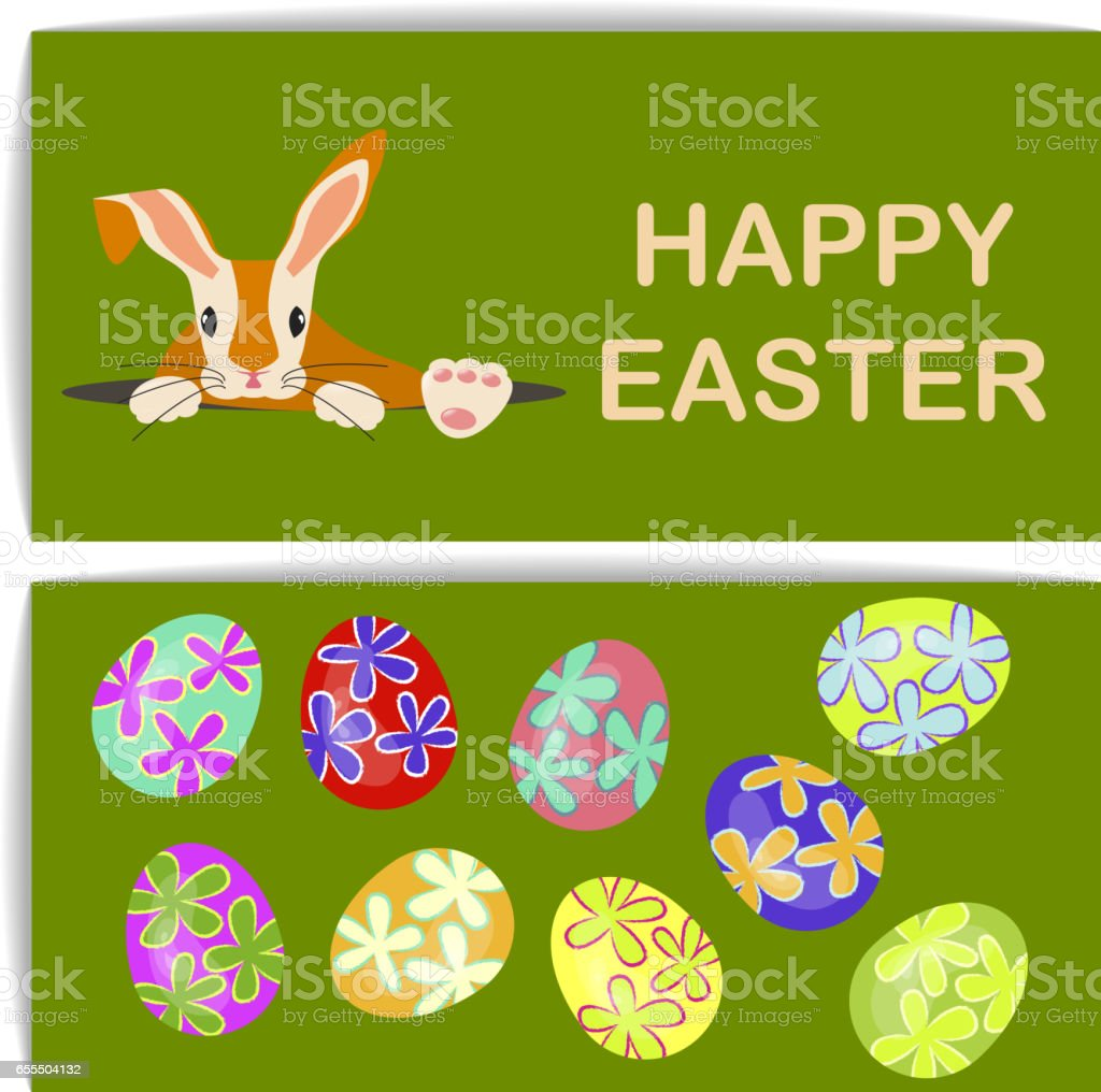 Easter eggs and bunny vector art illustration