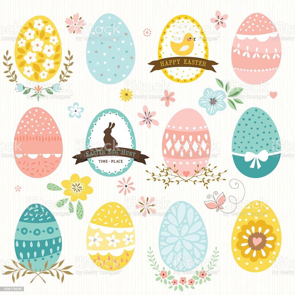 Easter Eggs and Flowers vector art illustration
