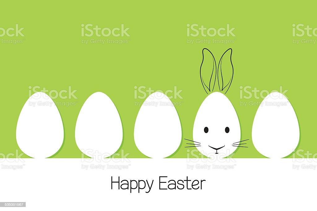 Easter eggs and rabbit vector art illustration