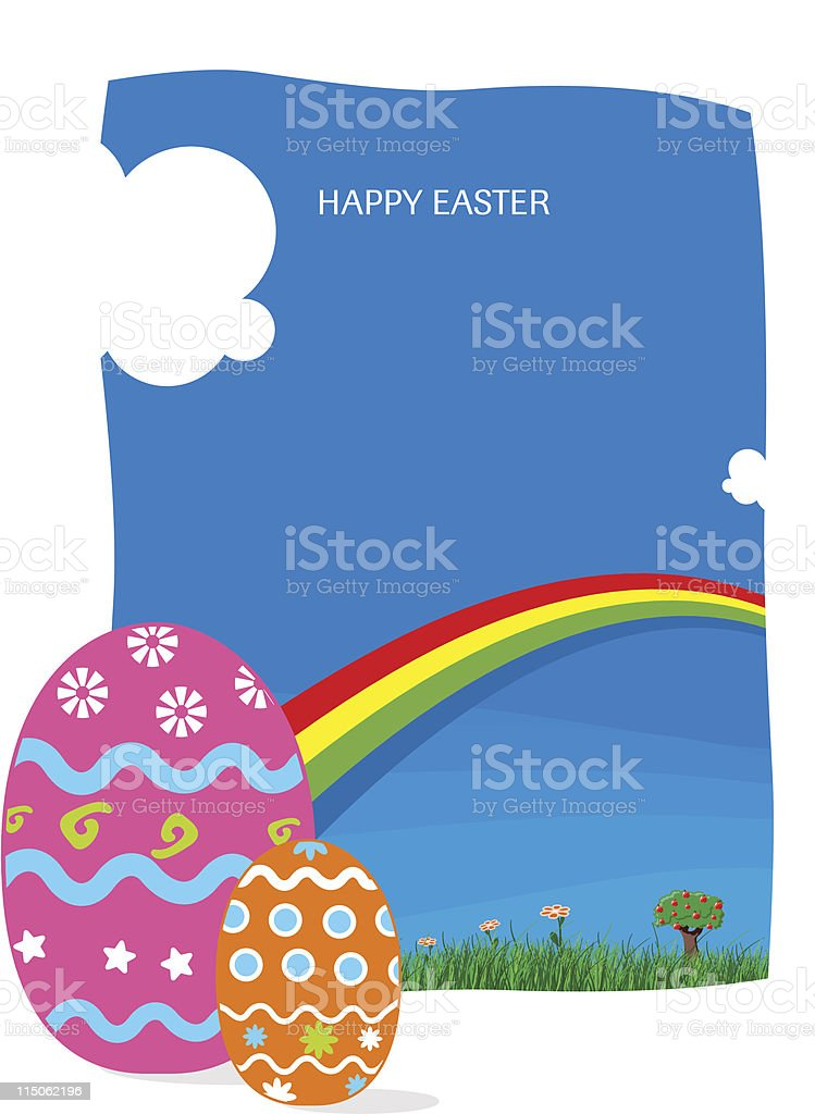 Easter eggs and rainbow royalty-free stock vector art