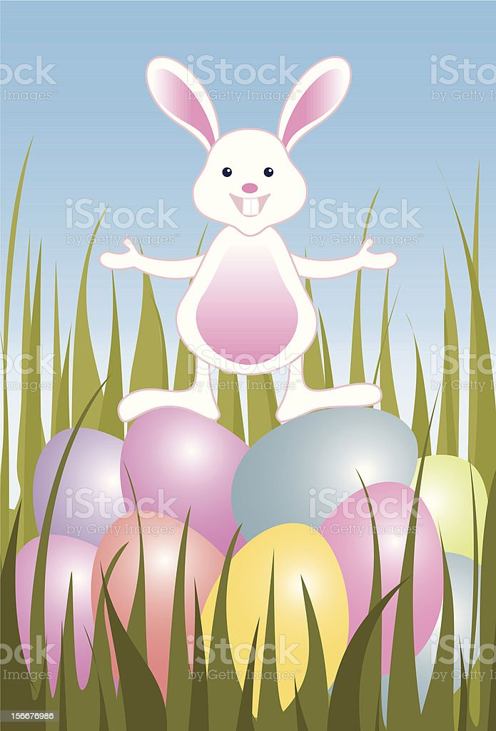 Easter eggs and small bunny royalty-free stock vector art