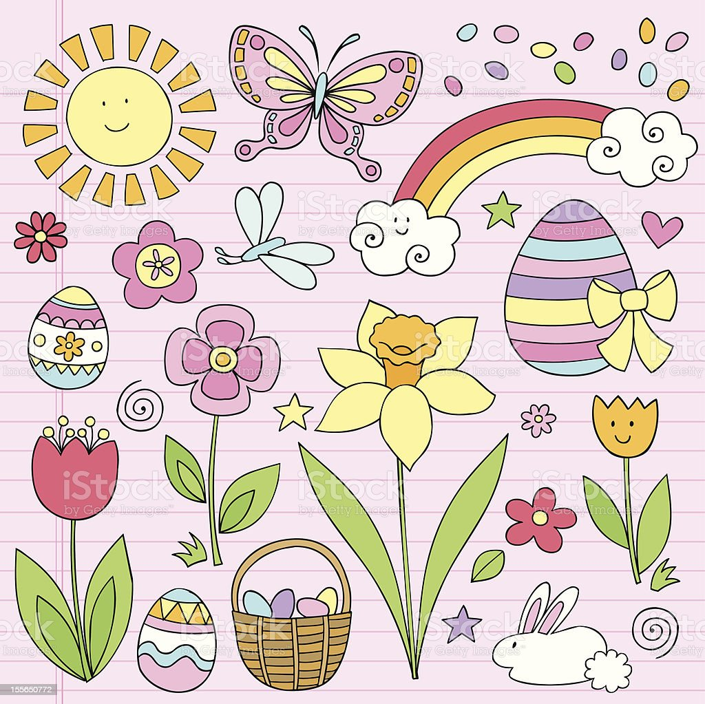 Easter Eggs and Spring Flowers Doodle Set royalty-free stock vector art